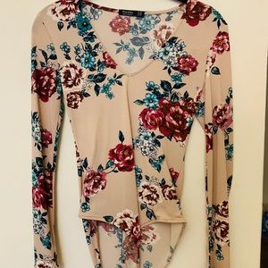Bershka Floral Long Sleeve Bodysuit